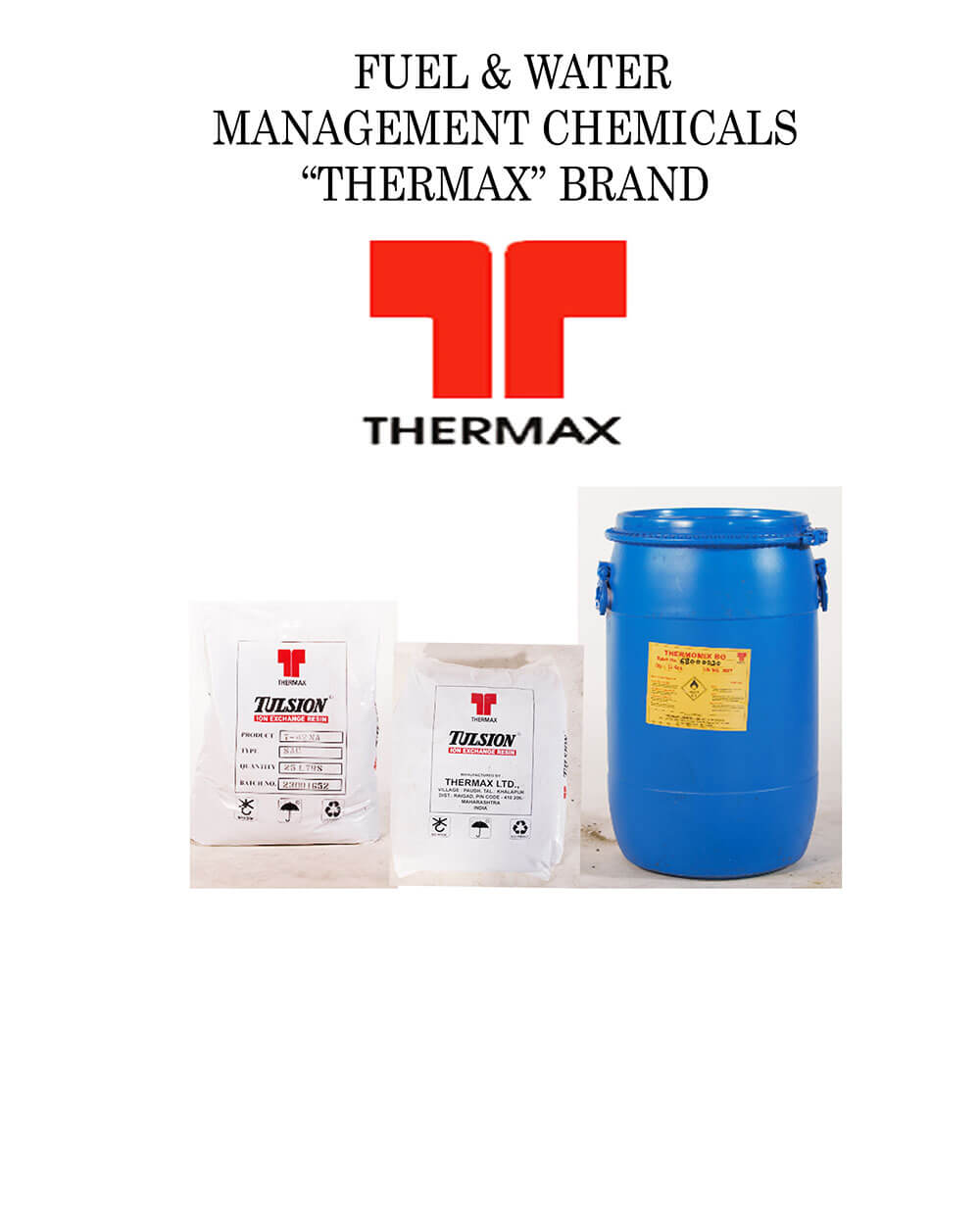 """Fuel & Water Management Chemicals """"Thermax"""" Brand"""